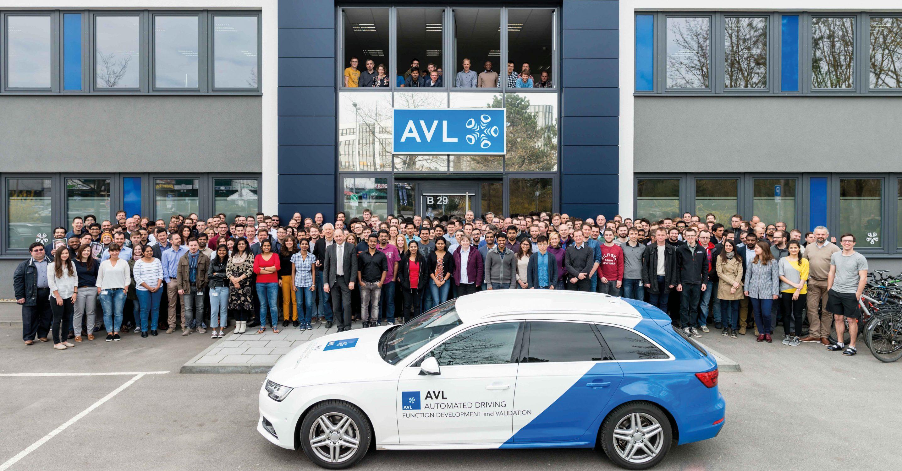 Mitarbeiter und AVL Auto vor Haupteingang