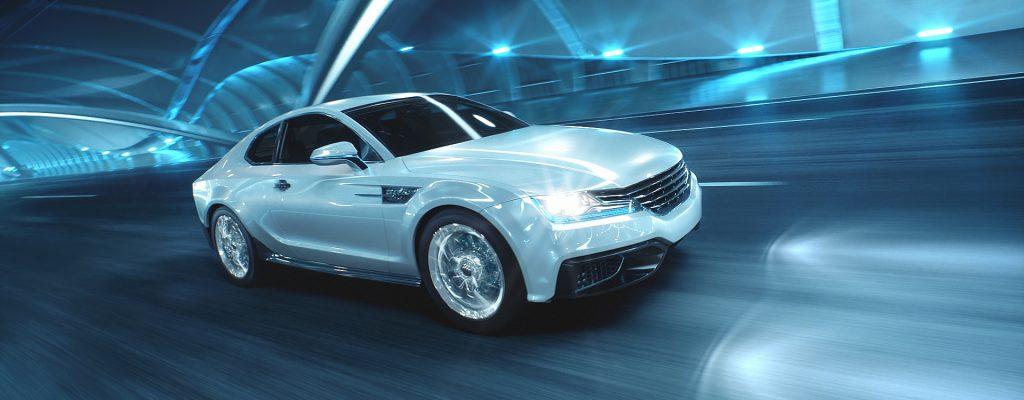 Weißes, futuristisches Auto in Tunnel