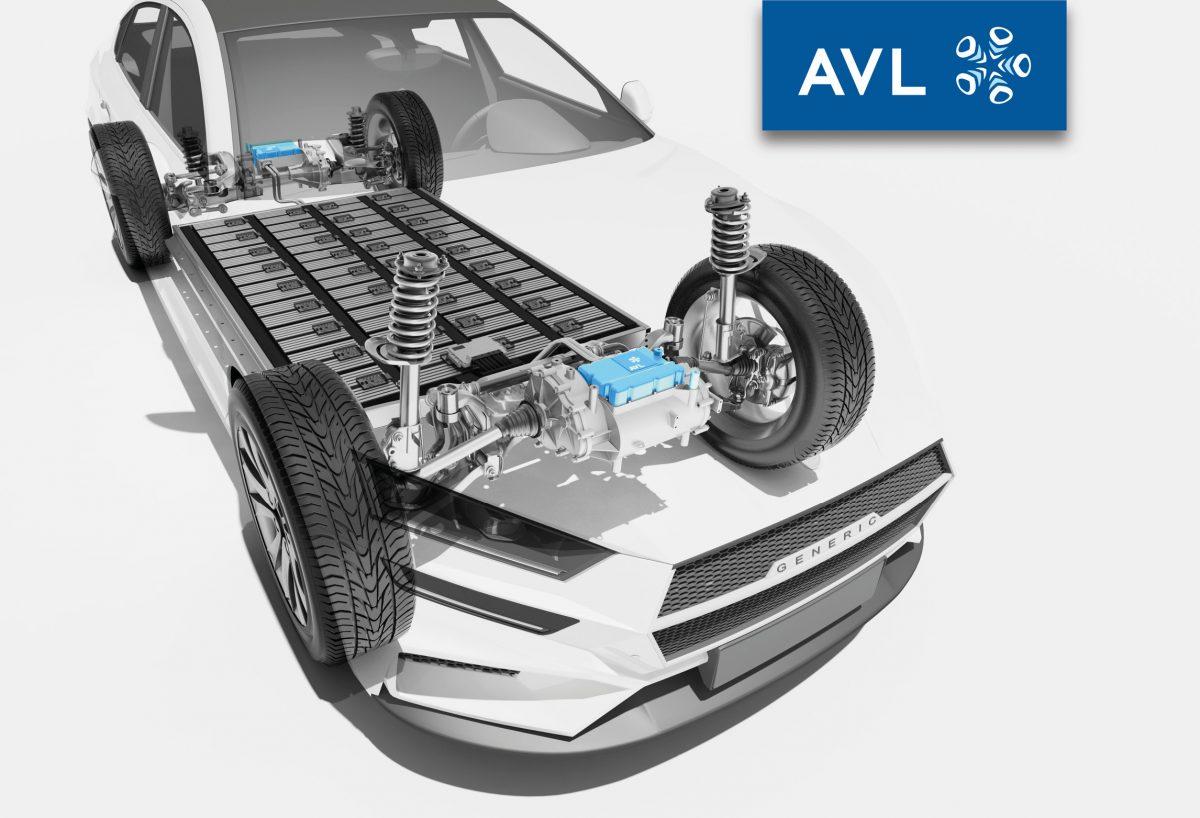 Transparentes Auto mit elektrischem Antriebsstrang